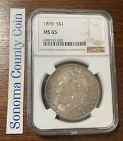 1890-P MINT STATE 65 MORGAN SILVER DOLLAR GREAT COLOR NGC