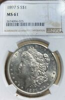 1897-S NGC MINT STATE 61 MORGAN SILVER DOLLAR