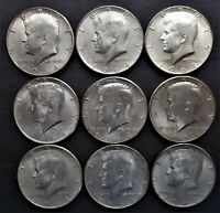 LOT OF 9 1964 D KENNEDY 90  SILVER HALF DOLLARS NICE