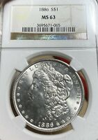 1886 NGC MINT STATE 63 MORGAN SILVER DOLLAR