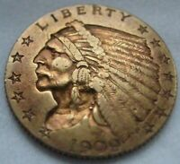 1909 $2.50 INDIAN HEAD QUARTER EAGLE GOLD COIN
