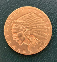 1910 GOLD US $2 1/2 DOLLAR INDIAN HEAD QUARTER EAGLE COIN