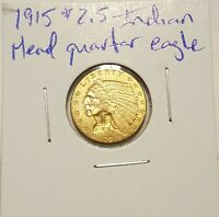1915 GOLD $2.5 INDIAN HEAD QUARTER EAGLE COIN $2 1/2