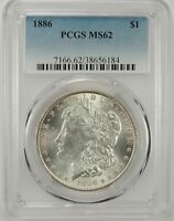 1886-P $1 MORGAN SILVER DOLLAR PCGS MINT STATE 62 38656184 - GREAT LOOKING BU COIN