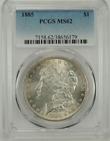 1885-P $1 MORGAN SILVER DOLLAR PCGS MINT STATE 62 38656179 - GREAT LOOKING BU COIN
