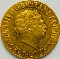 1820 GEORGE III FULL SOVEREIGN LARGE DATE OPEN 2 VARIETY