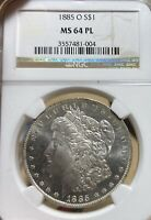 1885-O NGC MINT STATE 64 PL MORGAN SILVER DOLLAR