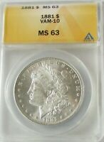 1881-P MORGAN DOLLAR MINT STATE 63 BETTER DATE  VAM-10