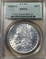 1885-O OGH PCGS MINT STATE 63 MORGAN SILVER DOLLAR