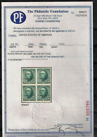 SC 225P 10C WEBSTER GREEN PLATE PROOF ON CARD BLOCK OF FOUR
