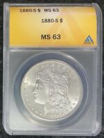 1880-S $1 MORGAN SILVER DOLLAR ANACS SLAB MINT STATE 63