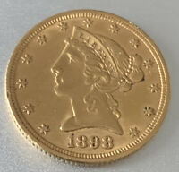1880 $5 LIBERTY HEAD GOLD HALF EAGLE US COIN