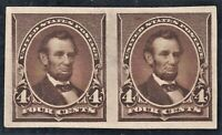 PAIR SCOTT 222P5 4C BROWN LINCOLN IMPERF PROOF ON STAMP PAPE