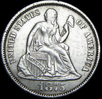 1875 CC SEATED LIBERTY DIME SILVER US COIN      STUNNING TYPE COIN     F636