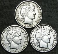 1902-S 1902-O 1913 BARBER DIME SILVER ---   STUNNING LOT  --- F685