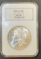 1903-O MORGAN SILVER DOLLAR NGC MINT STATE 65, KEY DATE HIGH GRADE COIN, OLD FATTY CASE