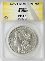 1892 MORGAN SILVER DOLLAR $1 ANACS EF45 DETAILS - CLEANED