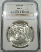 1922 PEACE DOLLAR NGC MS 64 CHOICE MINT LUSTROUS SILVER UNCIRCULATED WHITE COIN
