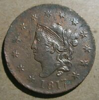 1817 CORONET HEAD LARGE CENT  N 7 MOUSE HEAD XF AU DETAILS CORRODED CLEANED
