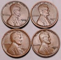 1925 P 1926 D 1929 D 1929 S LINCOLN WHEAT CENT PENNY - 4 COINS - SHIPS FREE