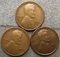 1929-P 1929-D 1929-S LINCOLN WHEAT CENTS- BETTER GRADE  FREE SHIP. B720