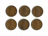 1915P - 1915D - 1916S - 1916D - 1917D - 1917S  WHEAT CENTS  G-F  SEE PHOTO -
