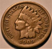 1909 S INDIAN HEAD CENT PARTIAL LIBERTY BETTER SEMI KEY DATE
