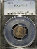 1824/2 CAPPED BUST DIME PCGS VG-08.  CHOICE, ORIGINAL EXAMPLE