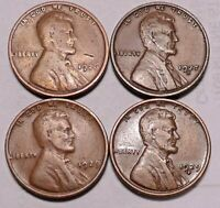1926 P 1927 D 1929 P 1929 D LINCOLN WHEAT CENT PENNY - 4 COINS - SHIPS FREE