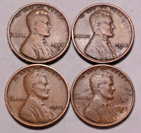 1927 D 1928 D 1929 P 1929 D LINCOLN WHEAT CENT PENNY - 4 COINS - SHIPS FREE