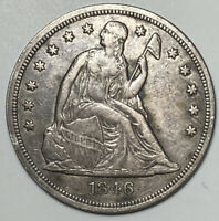 1846 SEATED LIBERTY EXTRA FINE EXTRA FINE  SILVER US DOLLAR $1