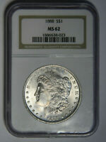 1888 MORGAN SILVER DOLLAR  NGC MINT STATE 62    WHITE   PRICED RIGHT 023