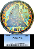 1886 PCGS PR64 MINTAGE 5 000   886 PROOF   LOWEST OF ALL 25C KEY SEATED QUARTER