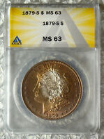 1879-S MORGAN SILVER DOLLAR ANACS MINT STATE 63 - LY TONED 11726