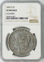 1893-S MORGAN SILVER DOLLAR $1 NGC VF DETAILS - CLEANED