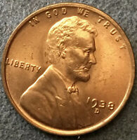 1938 D LINCOLN WHEAT CENT PENNY - UNCIRCULATED CHOICE BU RED RD  FREE SHIP E77