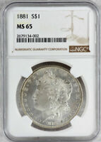 1881 MORGAN SILVER DOLLAR COIN - NGC MINT STATE 65