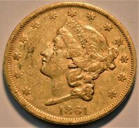1861 $20 GOLD LIBERTY DOUBLE EAGLE HIGHER GRADE BETTER CIVIL