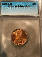 1950 D LINCOLN WHEAT CENT MINT STATE 66RD ICG GRADED
