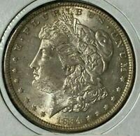 1884 DOUBLED EYE, SLANTED DASH UNDER 2ND 8, VAM-7 AU MORGAN US DOLLAR $1
