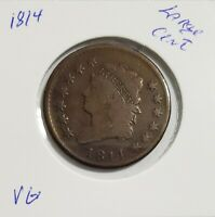 1814 CLASSIC HEAD LARGE CENT VG - TYPE COIN - SHIPS FREE