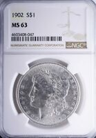 1902 MORGAN DOLLAR NGC MINT STATE 63 BRILLIANT HIGH END MINT STATE 63 COIN