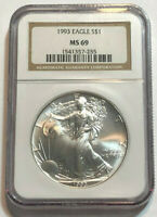 1993 S$1 1 OZ  AMERICAN SILVER EAGLE NGC MINT STATE 69, BROWN LABEL