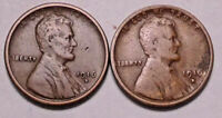 1916 S & 1916 D LINCOLN WHEAT CENT PENNY - 2 COINS - SHIPS FREE