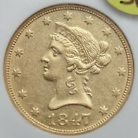 1847-O SS REPUBLIC $10 GOLD, NGC, AU58   0918-02,