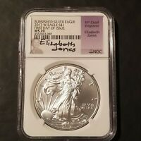 2017 W BURNISHED SILVER EAGLE  NGC MS-70 FIRST DAY OF ISSUE ELIZABETH JONES