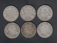 1902 10 CANADA 50 CENTS SILVER COINS LOT OF 6