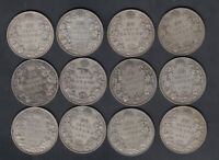1911 36 CANADA 50 CENTS SILVER COINS LOT OF 12