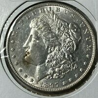 1897 DOUBLED LEFT STARS AND CAP VAM-8 R-5 ALMOST UNC AU MORGAN SILVER DOLLAR $1