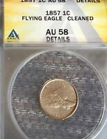 1857 FLYING EAGLE SMALL CENT AU58 ANACS GRADED